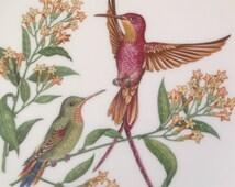 Boehm Crimson Topaz Male and Female Hummingbird Floral Bone China Collector Plate