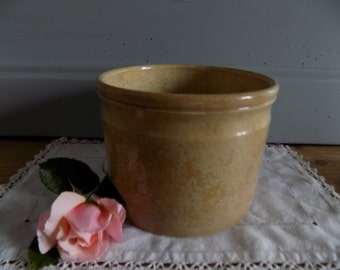 Gorgeous tea stained, crazed antique French pate pot, circa late 1800s.