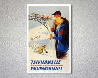 Talvilomalle Valtionrautatiet Vintage Travel Poster - Poster Print, Sticker or Canvas Print