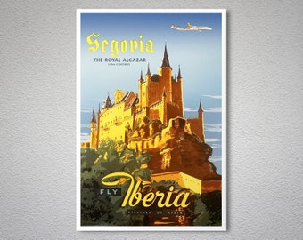 Segovia, Fly Iberia  Vintage Airline Travel Poster - Poster Print, Sticker or Canvas Print