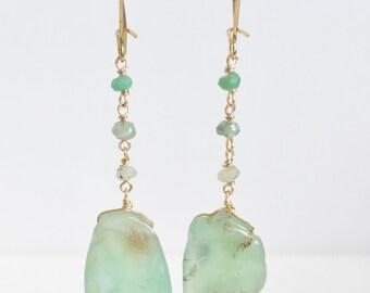 Mint Green Chrysoprase Dangle Earring