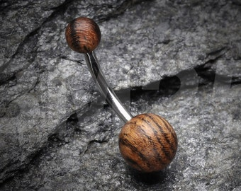 Organic Zebra Wood Belly Button Ring