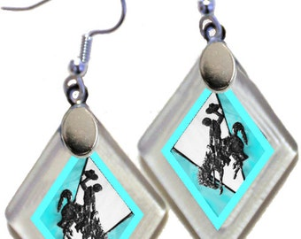 "Earrings ""Wyoming Bucking Horse & Rider(TM) in Turquoise"" from rescued, repurposed window glass~Licensed Product"