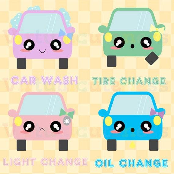 Cute Car Maintenance Kawaii Car Clip Art Oil Change Car