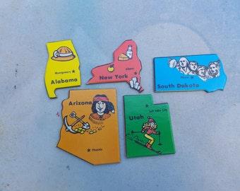 80s Game /  Vintage Game Pieces / State to State Game / Alabama / Utah / South Dakota / New York / Arizona