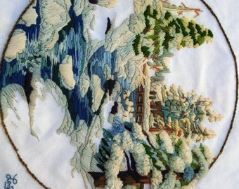 Winter Snowfall 70s Needlepoint by Sunset Designs #2474 / Vintage Wall Hanging/ Vintage Needlework / Winter Scene