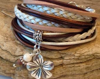 Wrap Bracelet, Leather Wrap Bracelet, Triple Wrap, Custom Bracelet, Cuff Wrap, Charm Bracelet, Tan, White, Copper, Brown