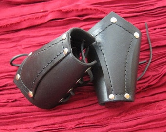 Leather Bracers Medieval Black