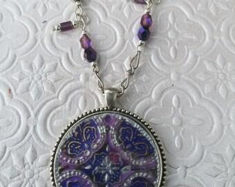 Purple Medallion Necklace