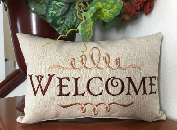 Throw Pillow With The Word Home On It : Pillow Throw Pillow Decorative Pillow Welcome Pillow Words