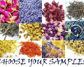 SAMPLES of Herbs4Health's Flowers Teas, Herbal Teas, Fruit Teas, Organic Herbs, Choose Your Samples
