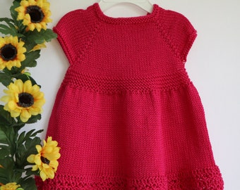 Pink baby dress, little girl knitwear, cotton summer dress, bright pink toddler dress