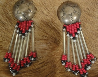 Sterling Silver and Beaded Dangling Earrings