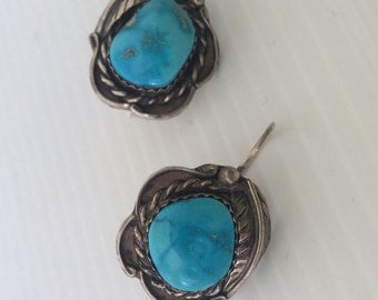 Vintage Sterling and Turquoise Navaho Earrings Navajo American Indian