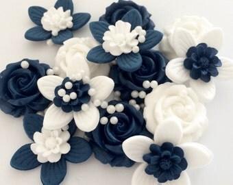 NAVY WHITE FLOWERS edible sugar paste roses wedding cake birthday cupcake decorations