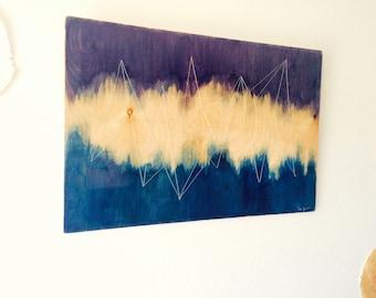 Woven Wood - [ Heart ] plywood, watercolor, epoxy, home decor, wall decor, violet, indigo, gradation
