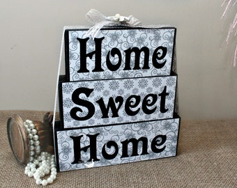 Home Sweet Home Sign, Wooden Blocks Sign, Entryway Decor, Christmas Gift, Fireplace Decor, Foyer Table Display, New Home Housewarming Gift