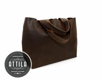 Large Brown Leather tote bag, HandmadeBrown Tote, Handmade Leather Tote, Sturdy Premium waxed leather, Genuine Leather Tote, Tote bag