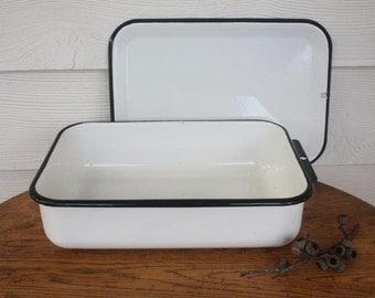 Vintage enamel fridge keeper ~ kitchen storage ~ enamelware