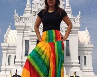 Ladies Harem Pants Genie Yoga Gym Beach Smocked Rainbow Green Multi.