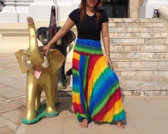 Ladies Harem Pants Genie Yoga Gym Beach Smocked Rainbow Multi.