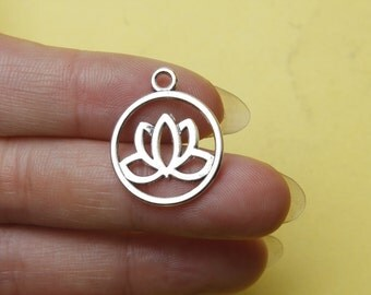 20 Lotus charms Antique Silver flower Charms double sided 20x24mm