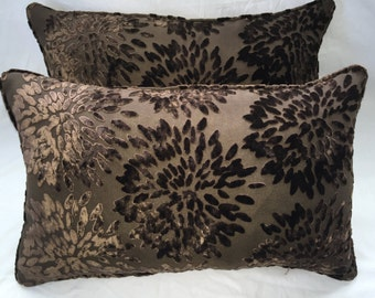 Pair Of Koplavitch & Zimmer Burnt Out Velvet Pillows