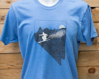 ski Nevada shirt, the Sierras screen printed on american apparel, Reno envy. color heather blue, free shipping in the USA. Nevada apparel.