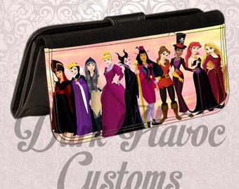 Personalized custom leatherette womens wallet. womens princess characters. Great gift for any occasion