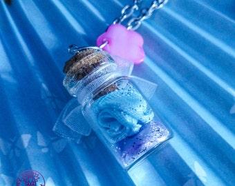 Blue/Purple Roses Bottle Charm Necklace