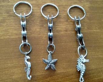 Cyclist Gift /Seahorse Keychain/Starfish Keychain/Bike Chain Keychain/Upcycled Repurposed Recycled Keychain