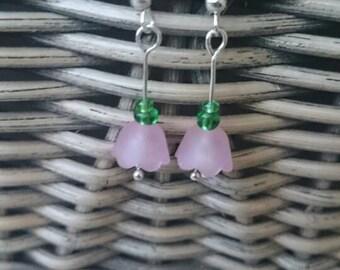 Cute fuscia pink flower drop earrings