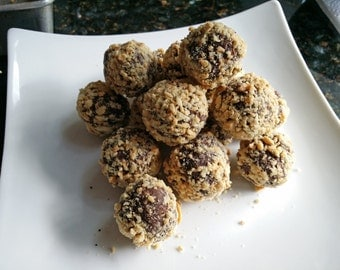 Decadent homemade chocolate truffles salted cashew nut 1 lb. with box