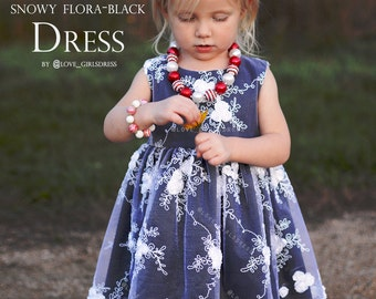 Baby holiday dress, baby christmas dress, baby floral dress, black dress