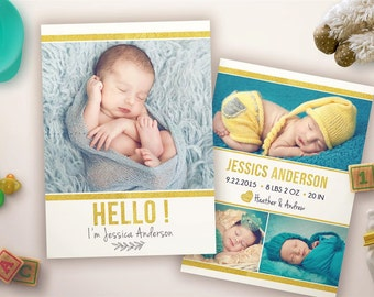 GOLD Birth Announcement Card - BA001 - 5x7 card - INSTANT DOWNLOAD