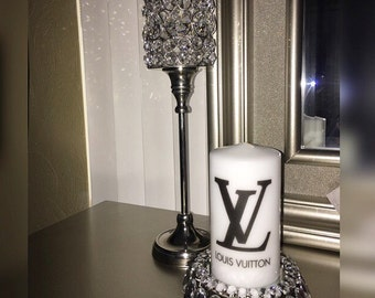 Designer inspired LV candle