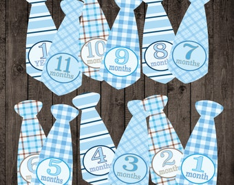 Instant Download ** Printable Monthly Milestone Baby Boy Ties Photo Stickers
