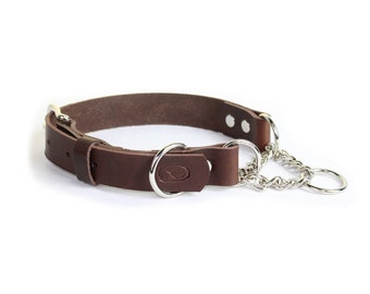 Leather Adjustable Martingale Chain Dog Collar