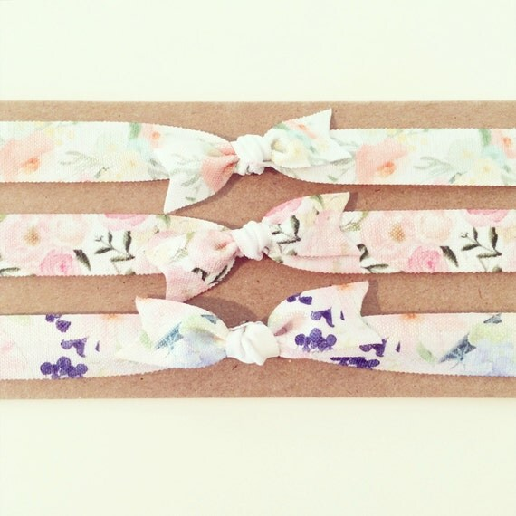 Floral Knot Bow Headband Set | Bohemian Floral Elastic Headbands for Baby Toddler Girls, Simple Neutral Newborn Headbands, Gold