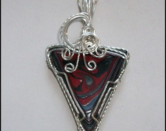 NEW Fordite Pendant in Sterling Silver Wire