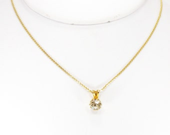 Gold over Sterling Silver Prong Set Crystal Necklace