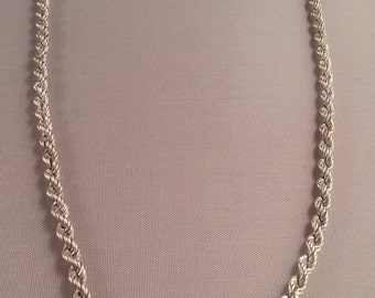 Vintage Stirling Silver Necklace Rope Chain made in Italy A Gift For Her