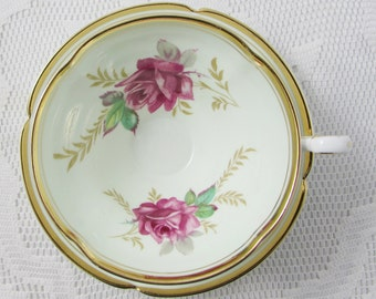 Old Royal Tea Cup and Saucer with Red Roses, Vintage Bone China