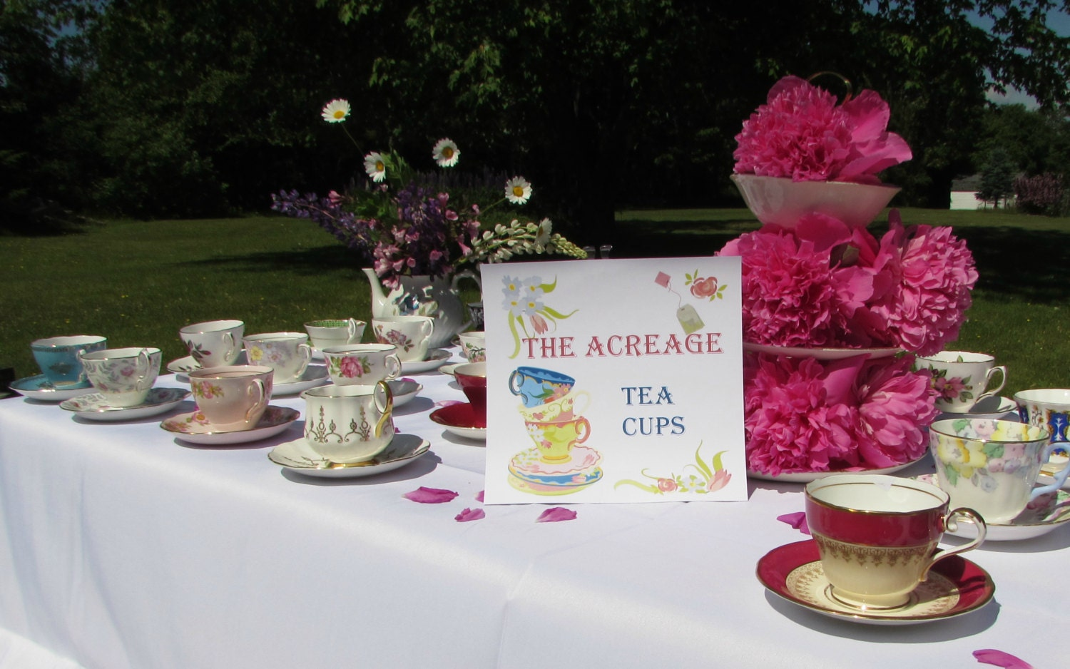 10 vintage tea cups and saucers for tea party wedding for Teacup party favors