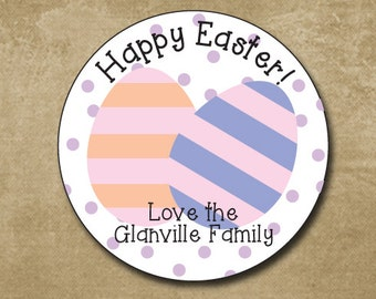 Easter Egg Stickers, Personalized Easter Stickers, Round Gift Labels for Easter, Happy Easter Stickers, Pastel Eggs