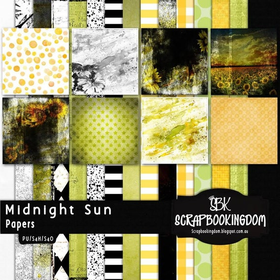 Midnight Sun Sunflower Theme Digital Scrapbook Kit Make