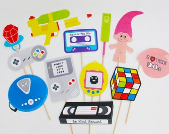 90s Party Photo Booth Props Printable, 90s props, 90s decorations, 30th birthday prop | INSTANT DOWNLOAD