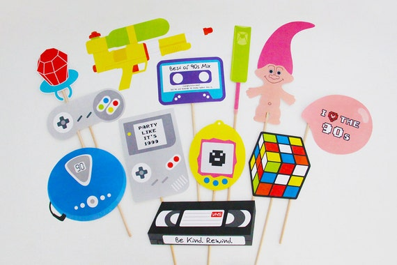 90s party photo booth props printable 90s props 90s for 90 s party decoration ideas