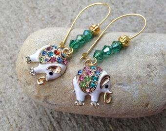 Elephant Earrings, Bejeweled Elephants, Dangle Drop Earrings, Seed Beads, Gift for Her, Teen Gift, Middle Eastern Style, Cute Gift