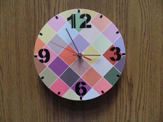 Checked Wall Clock Kids Room Kids Clock Extra Quiet